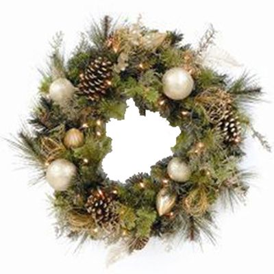 "Artificial Christmas Wreaths | Pre-Lit 32"" Decorated Artificial Christmas Wreath - American Sale"