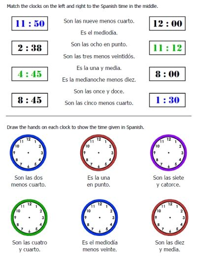 25-page worksheet packet on telling time in Spanish plus seasons, days, months, and weather -- FREE and easy to download at PrintableSpanish.com  :D