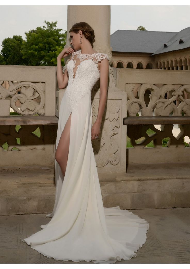 Cheap wedding dresses lazaro, Buy Quality dresses hot directly from China dress wedding Suppliers:  Illusion Neck High Low Wedding Dresses With Cap Sleeves Chiffon SPlit Beach WEdding Dress Sexy Vestido de Noiva&nb