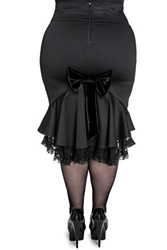 Fashion Bug Plus Size Gothic Black Velvet Bow Lorena Pencil Skirt