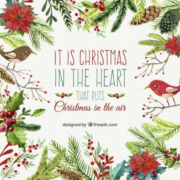 水彩画のスタイルのクリスマスカード 無料ベクター