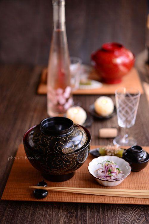 前菜MENU  鯛の子素麺  レッドオニオンとディルとツナのサラダ  つわのお浸し  梅くらげ