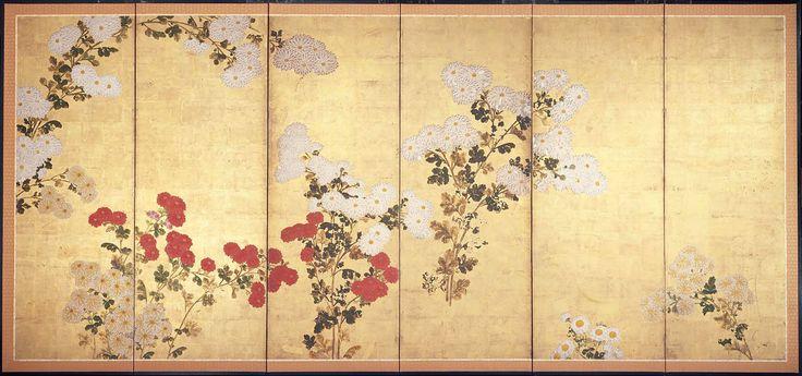 One of a pair of Japanese screens: Chrysanthemums. Kiku zu byobu. Edo period. 17th–18th century Style of Tawaraya Sôtatsu (Japanese, died about 1642)