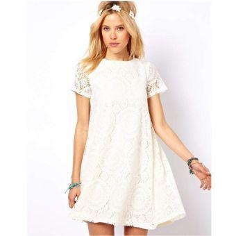 Vestido Manga Corta Casual Yucheer para Mujer-Blanco