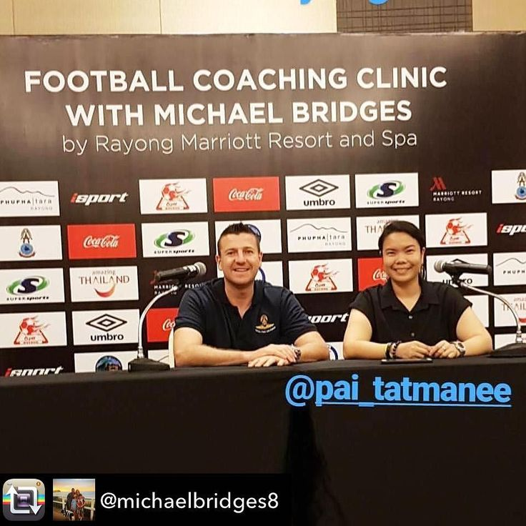 Repost from @michaelbridges8 using @RepostRegramApp - Really looking forward to training the local school children of Rayong Province  I would like to thank all the sponsors of the event #rayongmarriott #umbro #cocacola #isport & a special mention to @pai_tatmanee for organizing everything  #coachingclinic