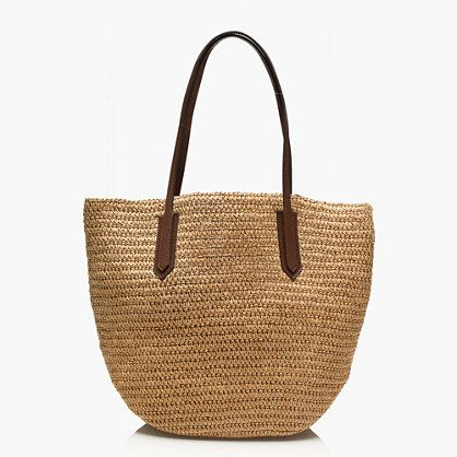 "Constructed from resilient straw, this bag folds flat for easy packing and is roomy enough for toting all your essentials, whether it's for a day at the beach or a day running errands.  <ul><li>9"" handle drop.</li><li>12""H x 17""W x 6 3/4""D.</li><li>Paper straw with leather straps.</li><li>Import.</li></ul>"