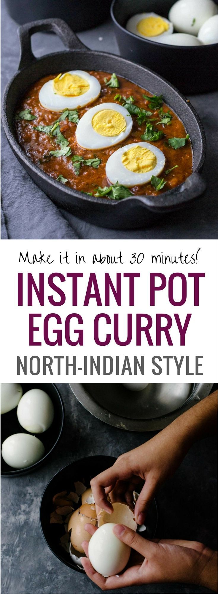 Easy Indian egg curry recipe - There are so many things that you can do with hard boiled eggs, but lately, we've been into this delicious North-Indian Punjabi style egg curry that you can quickly make in an Instant Pot or stove top. Pair it with rice or rotis to make a complete meal.  Enrich it with coconut milk to make a creamy version.  #Indiancuisine #healthyindianrecipes #ethniccuisine #worldcuisine #indianfood #InstantPotRecipe via @simmertoslimmer