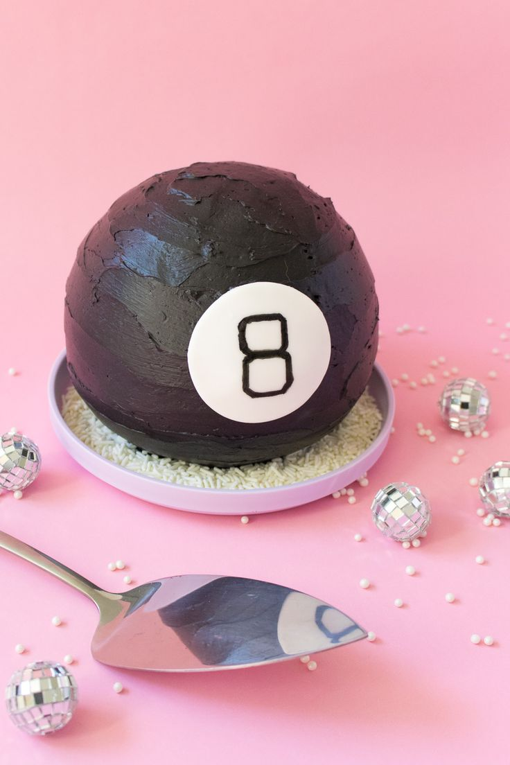 Magic 8 Ball Cake! - This double chocolate cake is rich and decadent and a throwback to the 90s! It's easy to decorate like your fav childhood toy, the magic 8 ball.