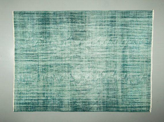 702 ' 942' Vintage tappeto turchese blu tappeto Overdyed di CICEM