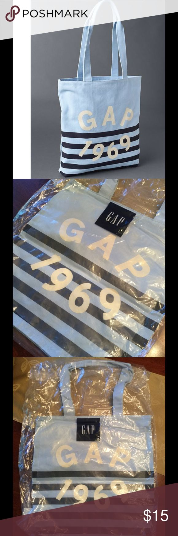 "🆕 GAP 1969 Logo Stripe Tote Bag ! 💙 Gap 1969 Logo Stripe Tote Bag ! "" Cerulean Blue "" ! 100% cotton ! In package ! I have one and LOVE it ! 2 straps, each 24 inch in length ! Measures about 16"" length 15 inch width ! Square bottom about 3 inches ! 5 ⭐️ on GAP ! A must have ! 💙 GAP Bags Totes"