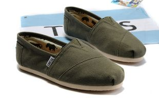 Army Green Toms Canvas Flat Shoes