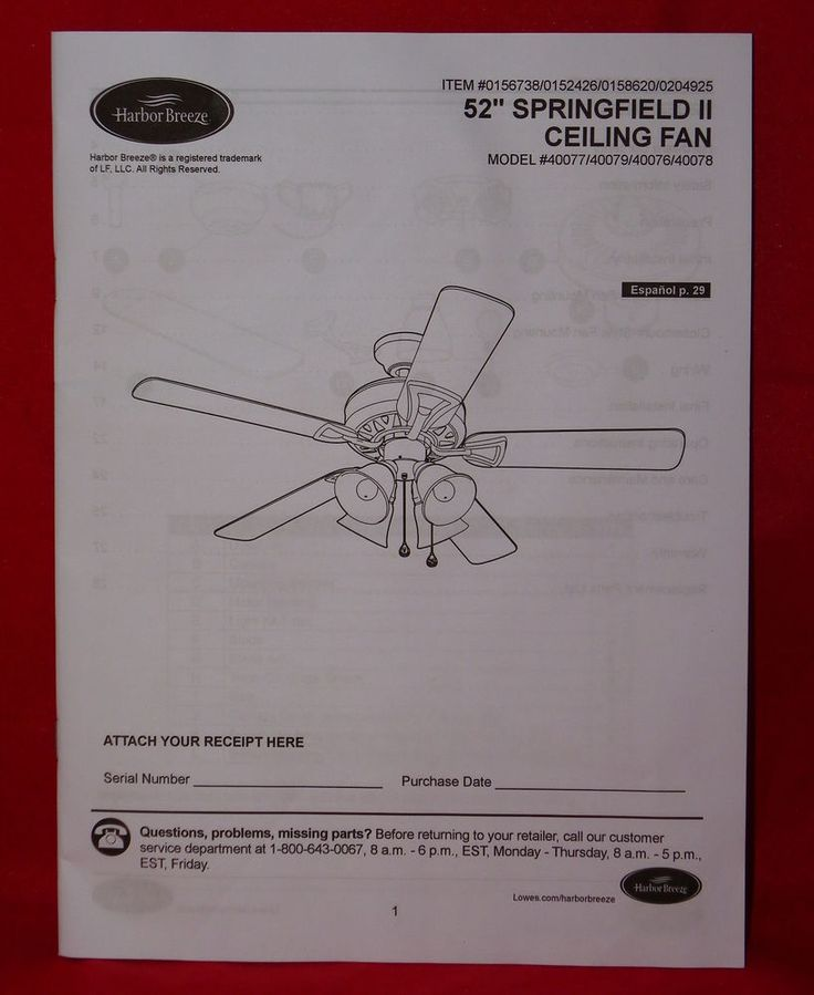 Harbor breeze springfield ii ceiling fan instruction manual harbor breeze springfield ii ceiling fan instruction manual english spanish replacement parts pinterest ceiling fan white ceiling fan and white sciox Images