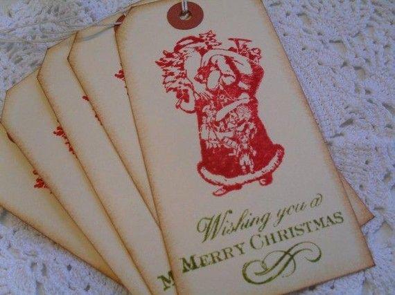 vintage santa handmade gift tags.