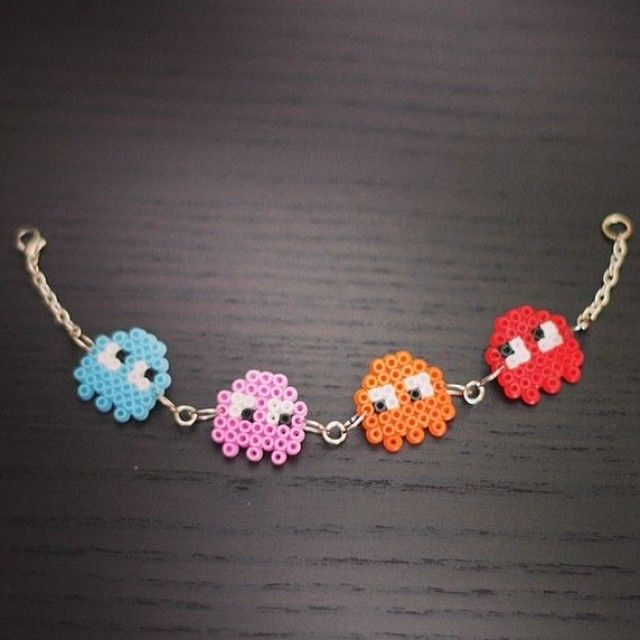 Pac Man bracelet perler beads by plybeads