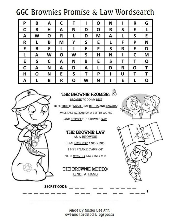 GGC Brownies Promise & Law Wordsearch http://owl-and-toadstool.blogspot.ca/2013/03/wordsearch-puzzles.html