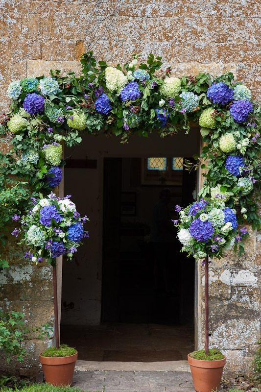 Flowers around an entrance door