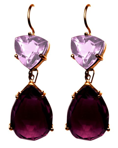 Simple yet elegant! These gold plated silver drop earrings are studded with high quality colored Cubic Zirconia.