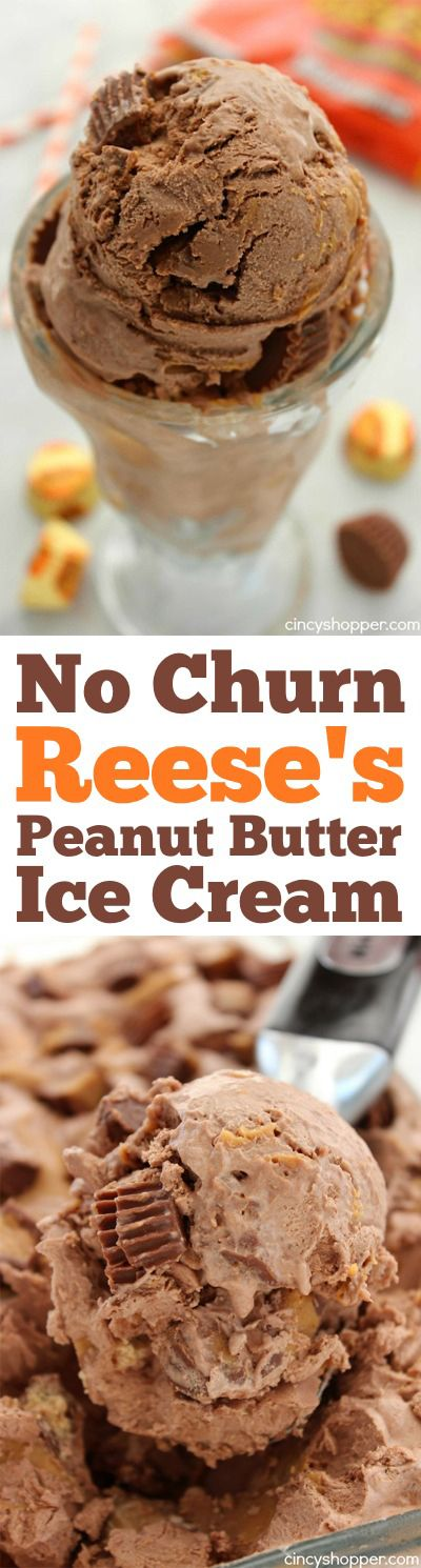 No Churn Reese's Peanut Butter Ice Cream- chocolate, peanut butter swirls and Reese's loaded into this yummy homemade cold treat. No Machine Needed:)