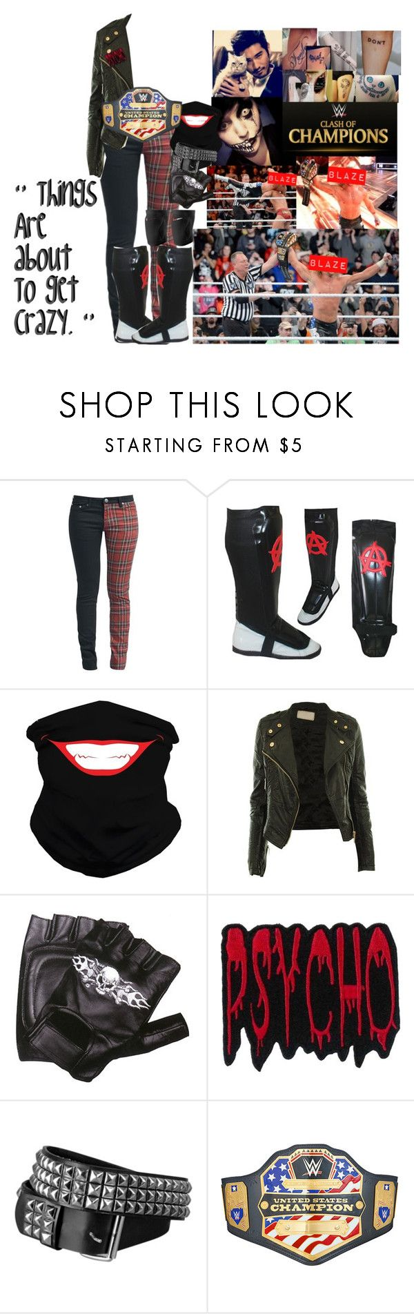 """""""😝 Blaze Michaels 😝- Clash Of Champions 🔵 Winning The United States Championship"""" by iron-maiden-amy ❤ liked on Polyvore featuring WWE, Rock Rebel, Am Black, NIKE, Hot Topic, men's fashion, menswear, wweoc, wweattire and wweocattire"""