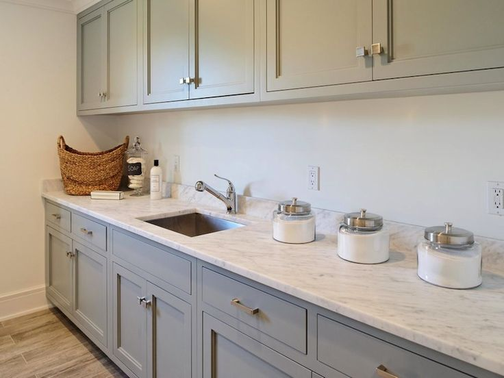Blue Water Home Builders - laundry/mud rooms - laundry room, laundry room ideas, gray laundry room, gray cabinets, laundry room cabinets, la...
