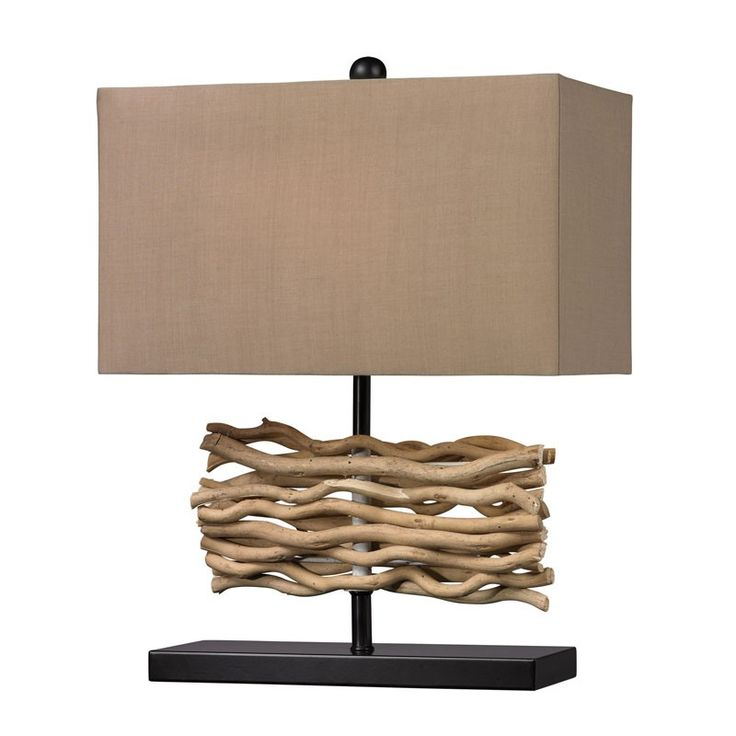 Dimond Lighting D157 Natural Driftwood Table Lamp in Black With Caramel Shade Black, Natural – Table Lamps – Residential Lighting - GreyDock.com
