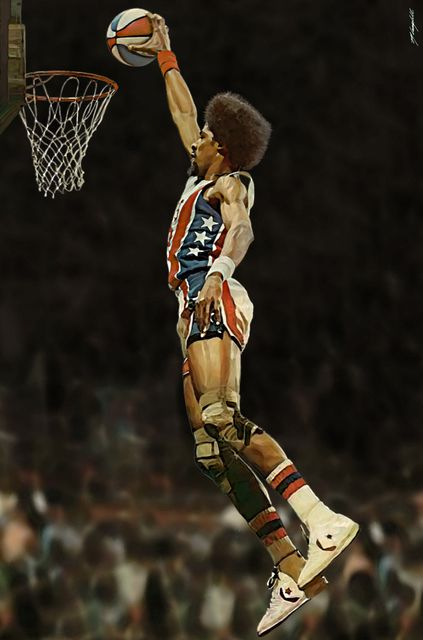 "Julius Erving, New York Nets ABA Basketball by Matthew Campbell 2003. Digital art, size 8"" x 11"""