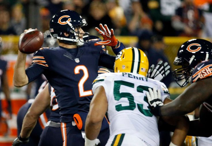 Thursday Night Football: Bears vs. Packers  -  October 20, 2016  -  26-10, Packers  - Chicago Bears quarterback Brian Hoyer (2) throws under pressure by Green Bay Packers outside linebacker Nick Perry (53) during the first half of an NFL football game, Thursday, Oct. 20, 2016, in Green Bay, Wis.