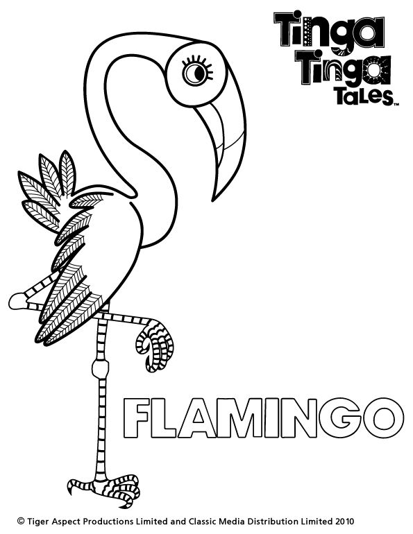 Tinga Tinga Tales Black and white picture of Flamingo