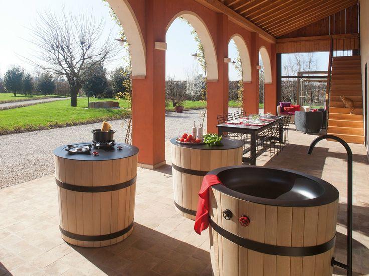 Módulo de cozinha de madeira com fogão TINOZZA INDUCTION HOBS by Minacciolo