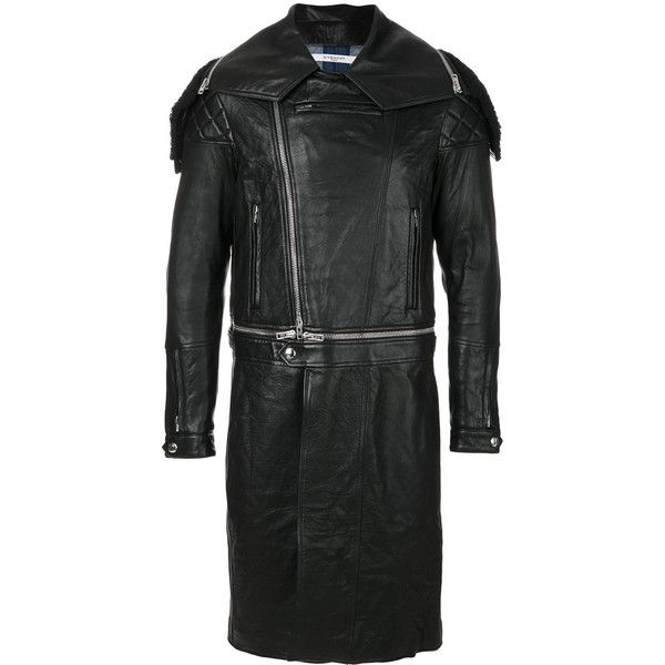 Givenchy fitted biker coat ($6,630) ❤ liked on Polyvore featuring men's fashion, men's clothing, men's outerwear, men's coats, black, mens fur collar coat and mens fitted coats
