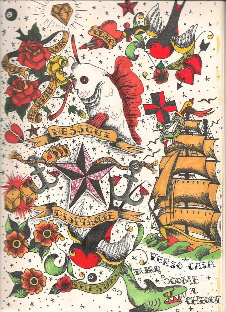 38 best sailor jerry tattoo sleeve template images on for Vintage tattoo art parlor