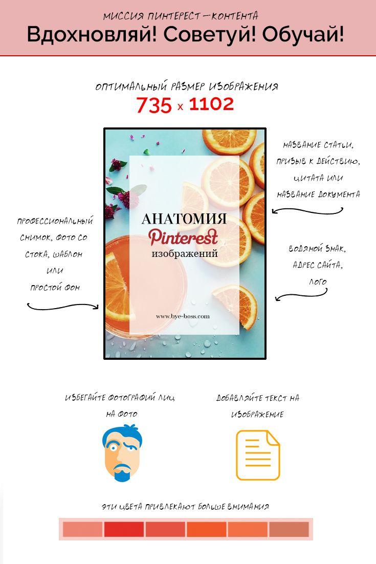 """Инфографика """"Анатомия Pinterest изображения"""" из курса """"Волшебная сила Пинтерест"""": цвет, дизайн, текст, размер.  Регистрируйся на курс на www.bye-boss.com! #прощайбосс #обучение #курсы"""