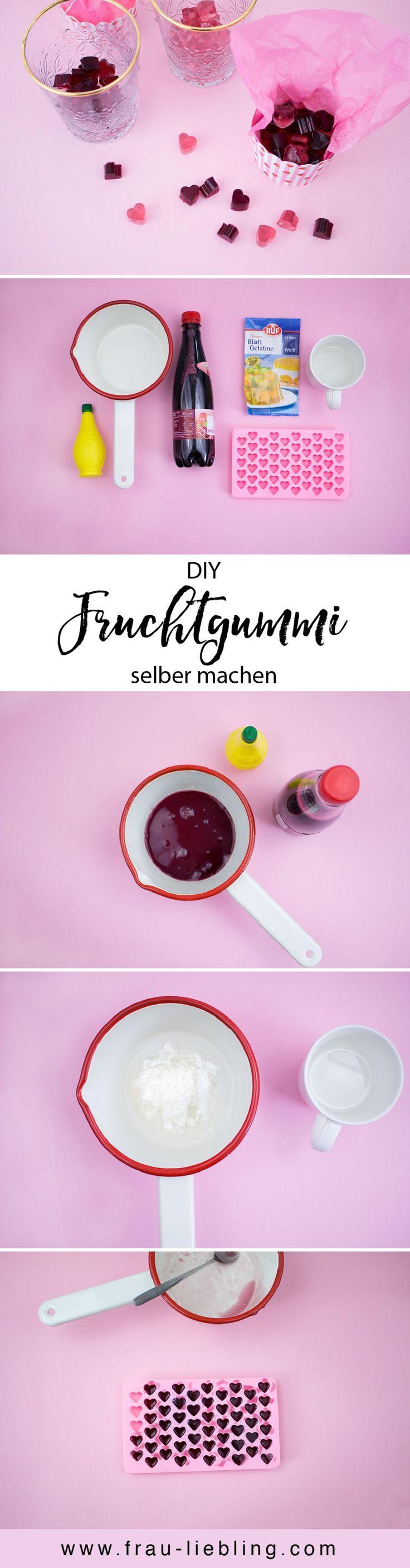 DIY Rezept: Leckere Fruchtgummi und Gummibärchen ganz einfach selber machen. Weingummi, Süßigkeiten, Geschenkidee, Mitbringsel