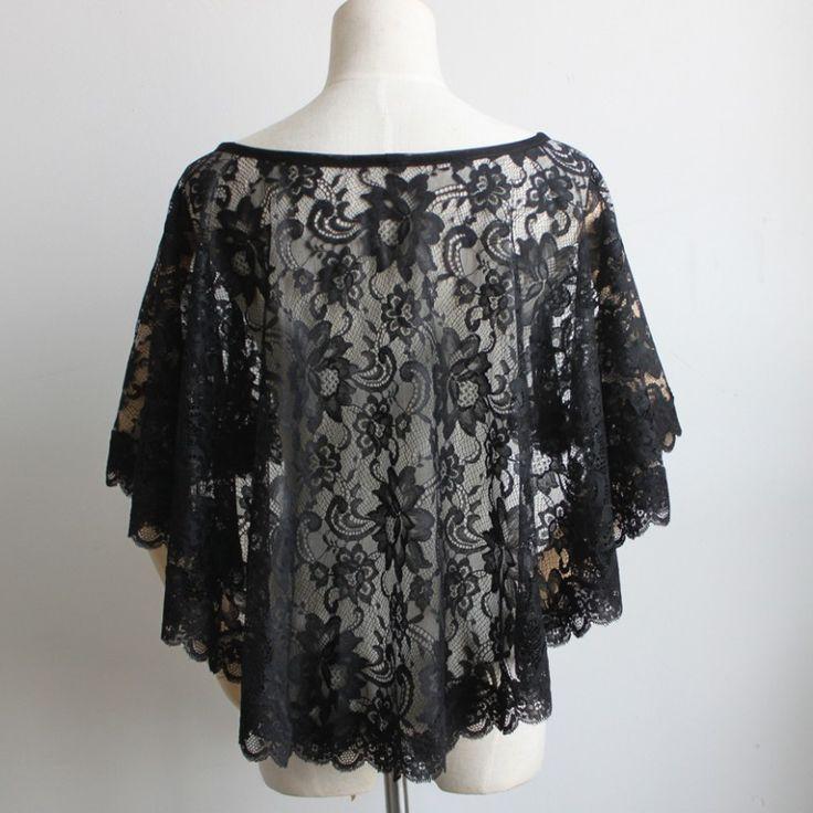 Black Lace Wedding Bolero Ivory Women Shawl Evening Capes Short Bridal Wrap Vintage Wedding Accessories. Click visit to buy #WeddingAccessories