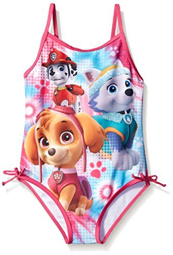 Nickelodeon Girls' Paw Patrol 4-6X Swimsuit:   Paw patrol pink swimsuit- product distributed by dream wave llc