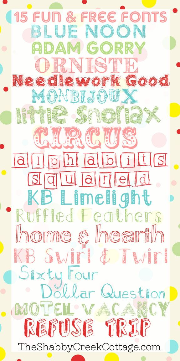 15 Fun and Free Fonts via The Shabby Creek Cottage