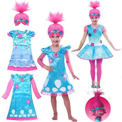 Kids Girl Fancy Dress Wig Trolls Poppy Costume Toddler Cosplay Party Outfit Set