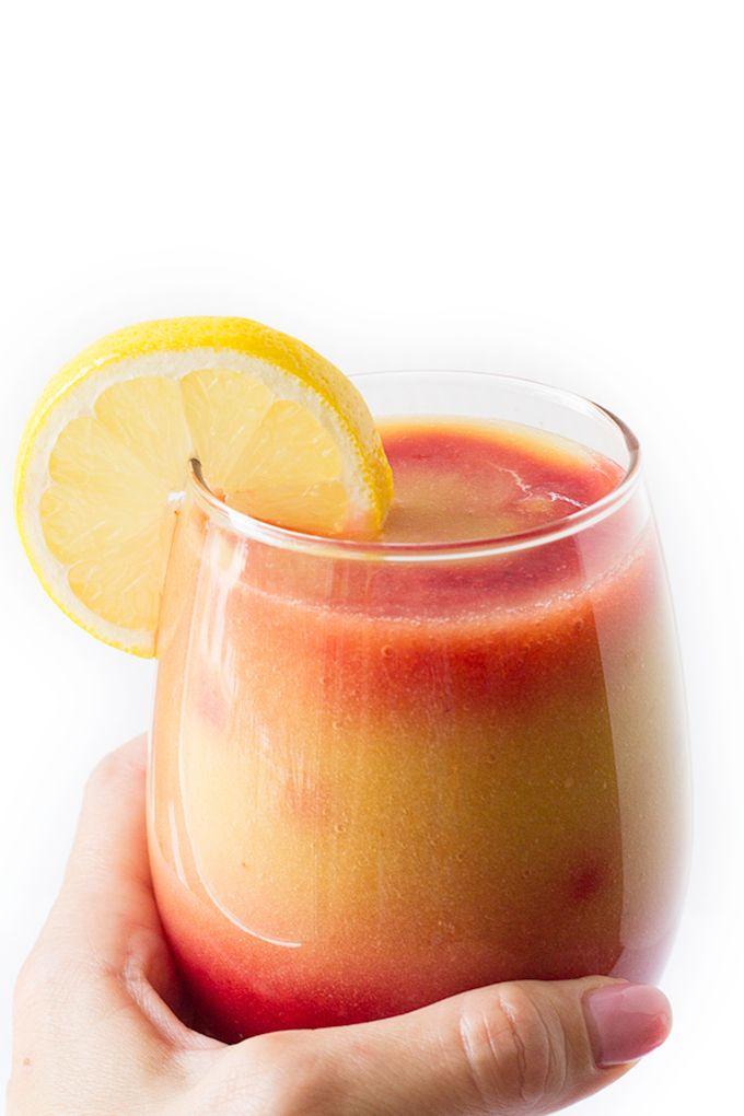 Sunrise Detox Smoothie by amyinthekitchen #Smoothie #Banana #Mango #Pineapple #Coconut_Water #Raspberries #Lemon #Healthy