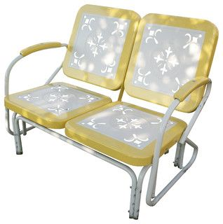 4D Concepts Metal Retro Glider in Yellow & White Metal - eclectic - patio furniture and outdoor furniture - by Beyond Stores