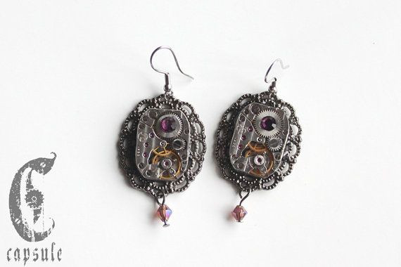 50.00$ Steampunk Neo Victorian Vintage Antique Silver tone Etched Striped Watch Movement Cameo with Purple Swarovski Crystal Earrings  https://www.etsy.com/ca/listing/214567889