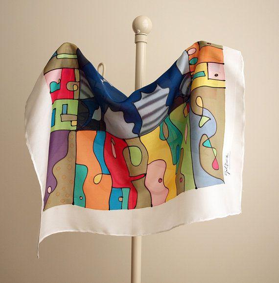 Hand geschilderde zijde Mini-huizen zijden sjaal Hand door gilbea