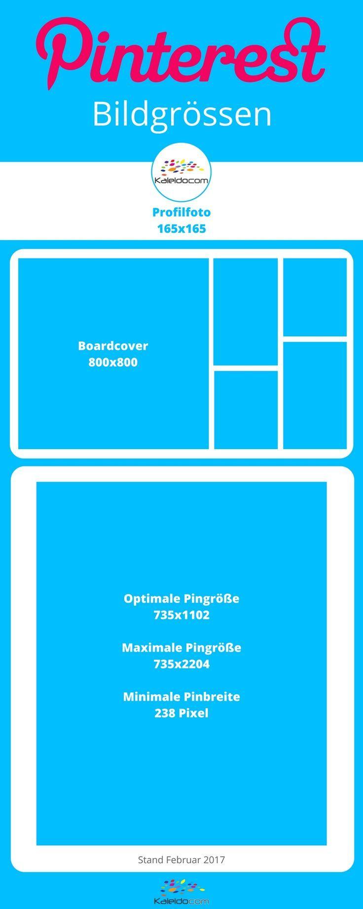 Cheatsheet: Die richtigen Bildgrößen für Pinterest Prodilbild, Boardcover und Pin.