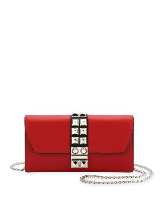 e8d4edea7935 Prada Studded Leather Wallet-on-Chain | Handbags | Leather wallet ...
