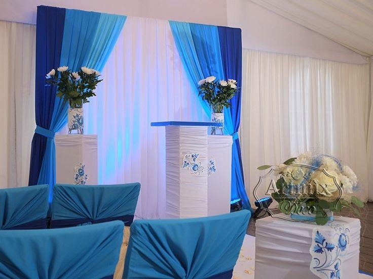 Выездная регистрация в синем цвете,  русского  народного стиля Гжель. выездная регистрация брака в синем и голубом цвете