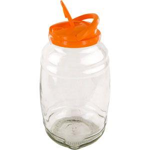 Glass Jar 1 Gallon Barrel Shape w/ Pour Lid and Handle