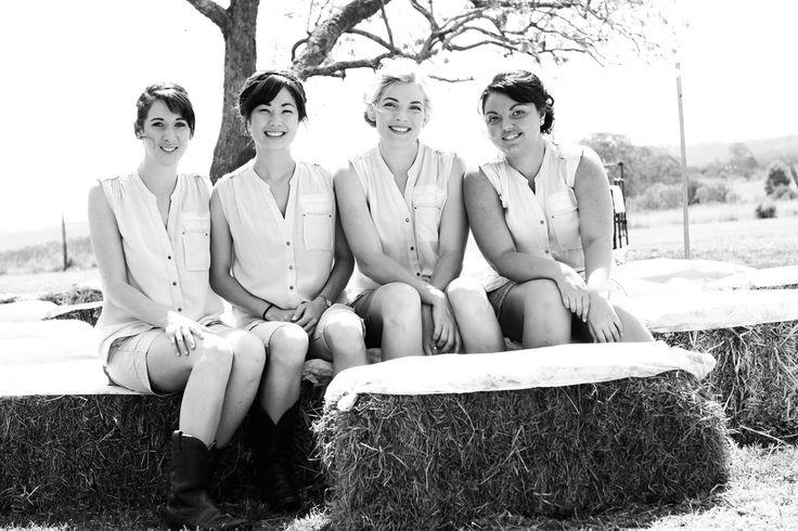 Bride & Bridesmaids + haybails