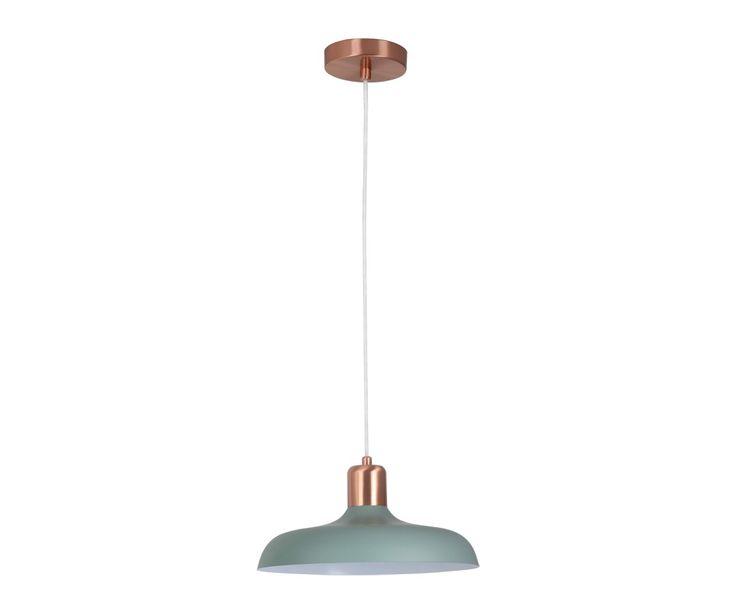 Croft 1 Light Pendant in Brushed Copper/Mint | Pendant Lights | Lighting