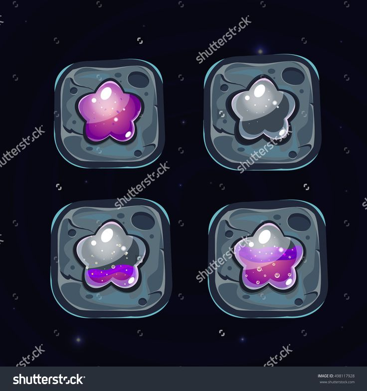 Set Of Stone Blocks With Colors Stars For Game.Glossy Stars With Purple Water. Stone Blocks For Game. Vector Game Art.Game Elements For Match 3 Or Puzzle Game. - 498117928 : Shutterstock