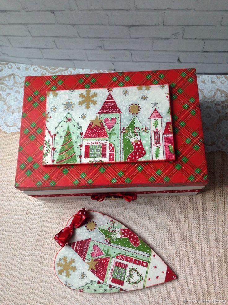 Купить Деревянная шкатулка для хранения Новый Год декупаж в интернет магазине на Ярмарке Мастеров