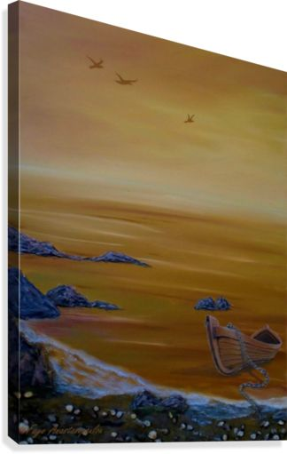 Canvas Print, seascape,painting,wall,art,coastal,scene,boat,sea,orange,sunset,sunrise,gold,golden,nautical,marine,island,water,wooden,beautiful,images,home,office,decor,artwork,for,sale,contemporary,modern,cool,awesome,fine,oil,items,ideas, pictorem